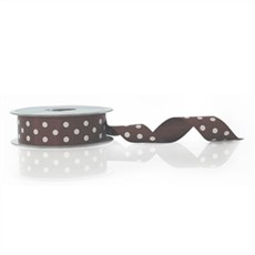 Brown Polka Dot Double Satin Ribbon [25]