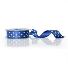 Dark Royal Blue Polka Dot Double Satin Ribbon [243]