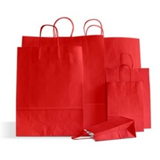 Cherry Red Premium Italian Paper Carrier Bags with Twisted Handles