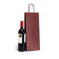 Italian Bordeaux Paper One Bottle Bag with Twisted Handles