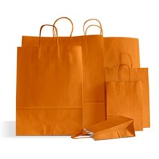 Orange Premium Italian Paper Carrier Bags with Twisted Handles