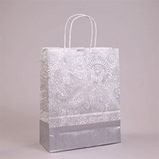 Silver Paisley Paper Carrier Bags with Twisted Handles