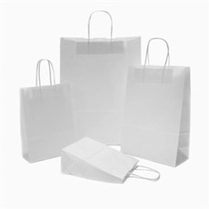 White Premium Italian Paper Carrier Bags with Twisted Handles