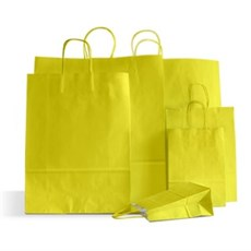 Yellow Premium Italian Paper Carrier Bags with Twisted Handles