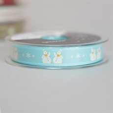 Snowman Christmas Ribbon in Duck Egg Blue [3]