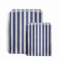 "Dark Blue Candy Stripe Paper Bags - 5"" x 7"""