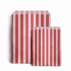 "Red Candy Stripe Paper Bags - 5"" x 7"""