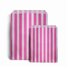 "Pink Candy Stripe Paper Bags - 5"" x 7"""