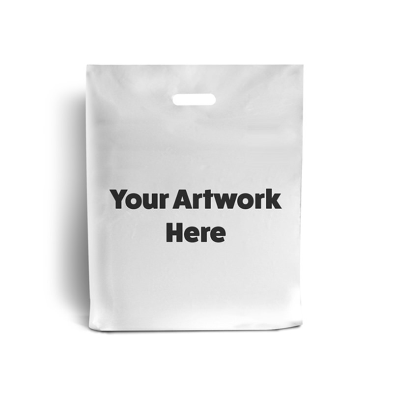 White Branded Plastic Carrier Bags