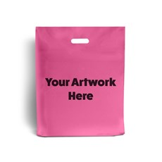 Shocking Pink Printed Plastic Carrier Bags
