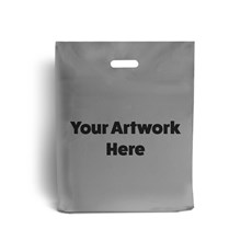 Silver Printed Plastic Carrier Bags