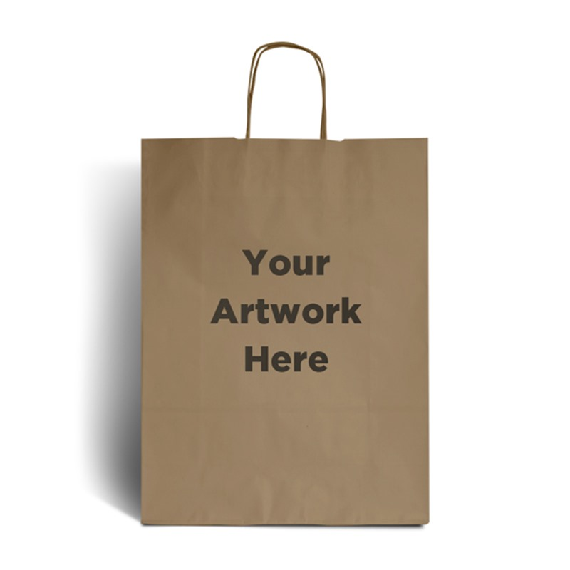 Brown Branded Paper Bags with Twisted Handles