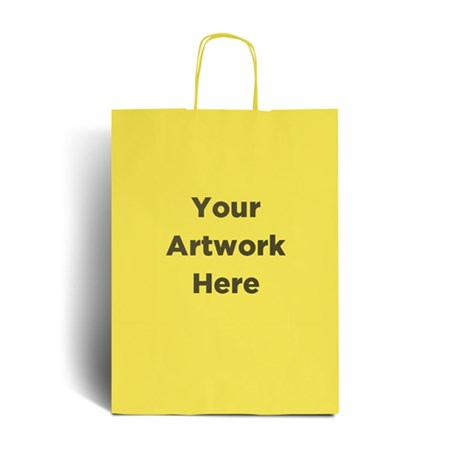 Yellow Branded Paper Bags with Twisted Handles