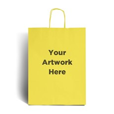 Yellow Printed Paper Bags with Twisted Handles