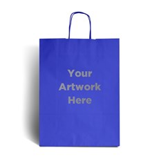Ocean Blue Printed Paper Bags with Twisted Handles