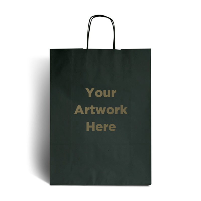 Dark Green Branded Paper Bags with Twisted Handles
