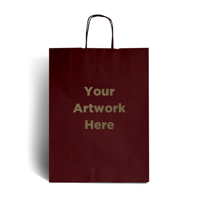 Burnt Red Branded Paper Bags with Twisted Handles
