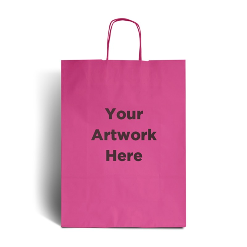 Magenta Branded Paper Bags with Twisted Handles