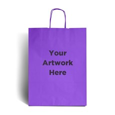Lilac Printed Paper Bags with Twisted Handles
