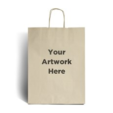 Ivory Printed Paper Bags with Twisted Handles