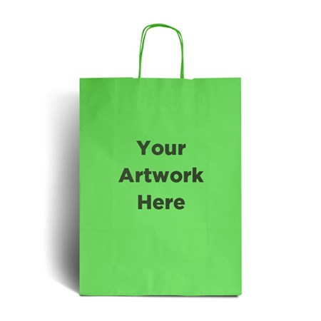 Lime Green Branded Paper Bags with Twisted Handles
