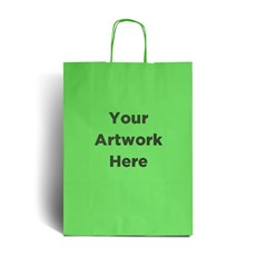 Lime Green Printed Paper Bags with Twisted Handles