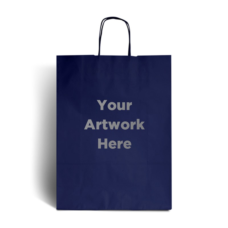 Dark Blue Printed Paper Bags with Twisted Handles