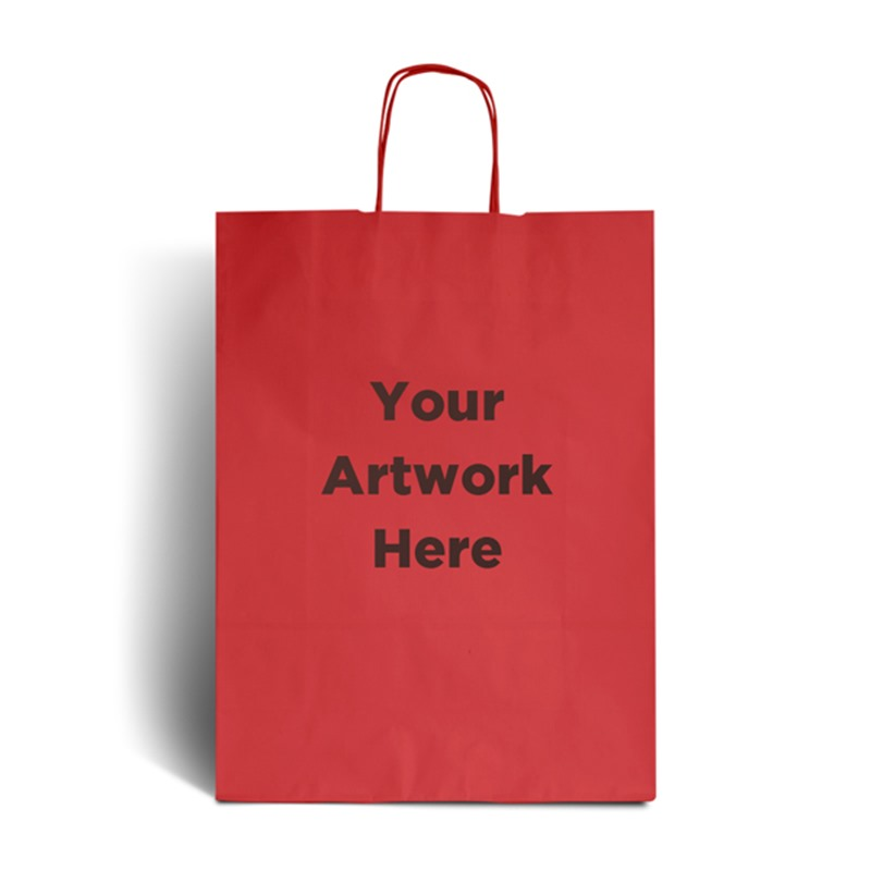 Cherry Red Branded Paper Bags with Twisted Handles