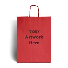 Cherry Red Printed Paper Bags with Twisted Handles