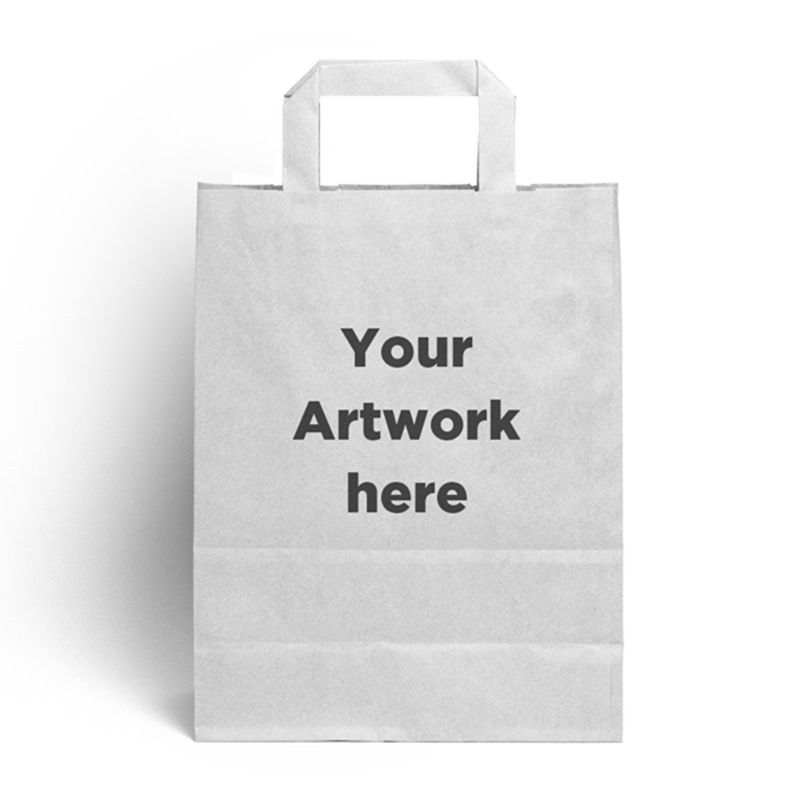 White Branded Flat Handle Carrier Bags