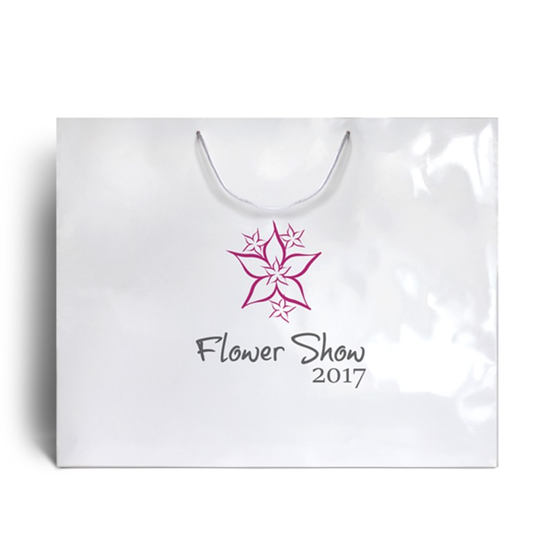 White Branded Gloss Laminated Bags
