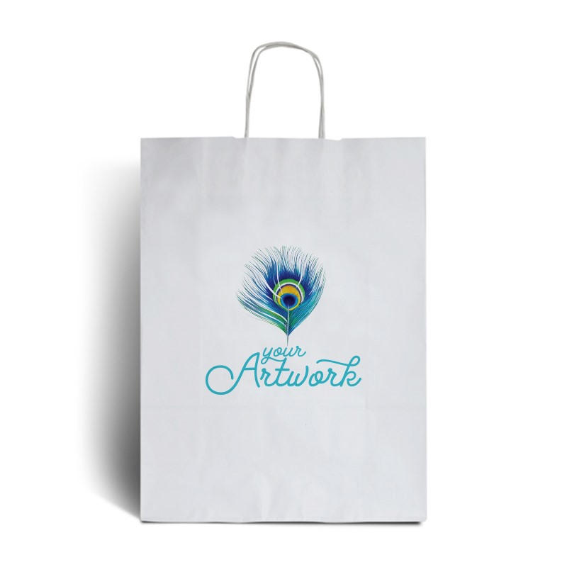 White Branded Paper Carrier Bags - Full Colour