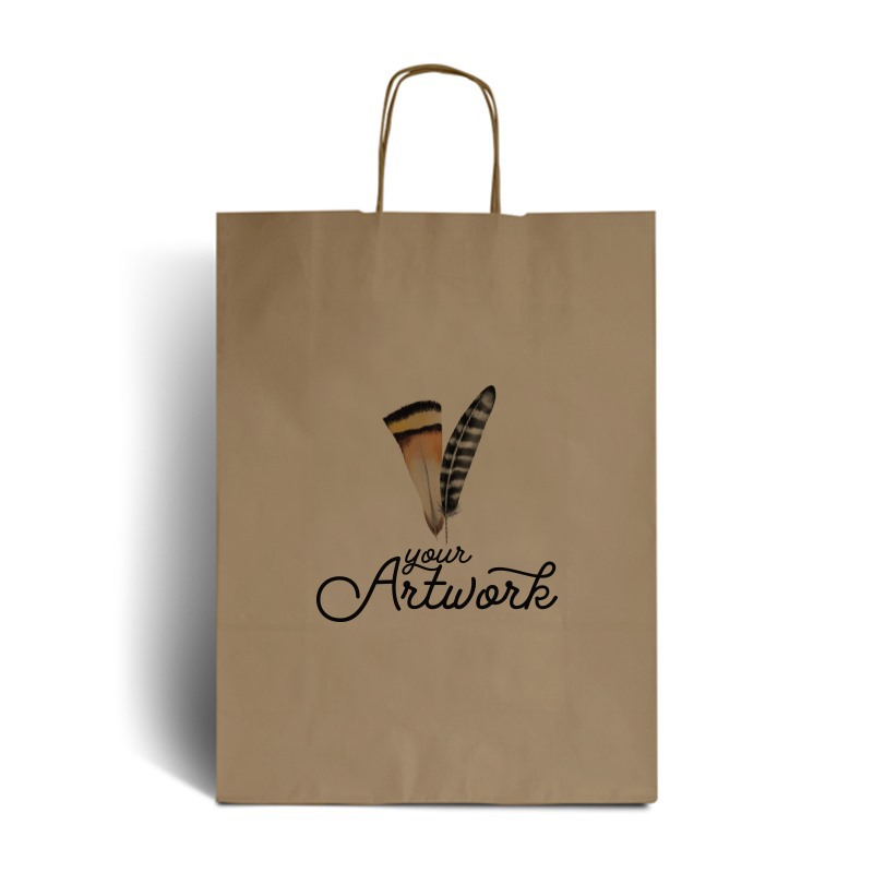 Brown Branded Paper Carrier Bags - Full Colour