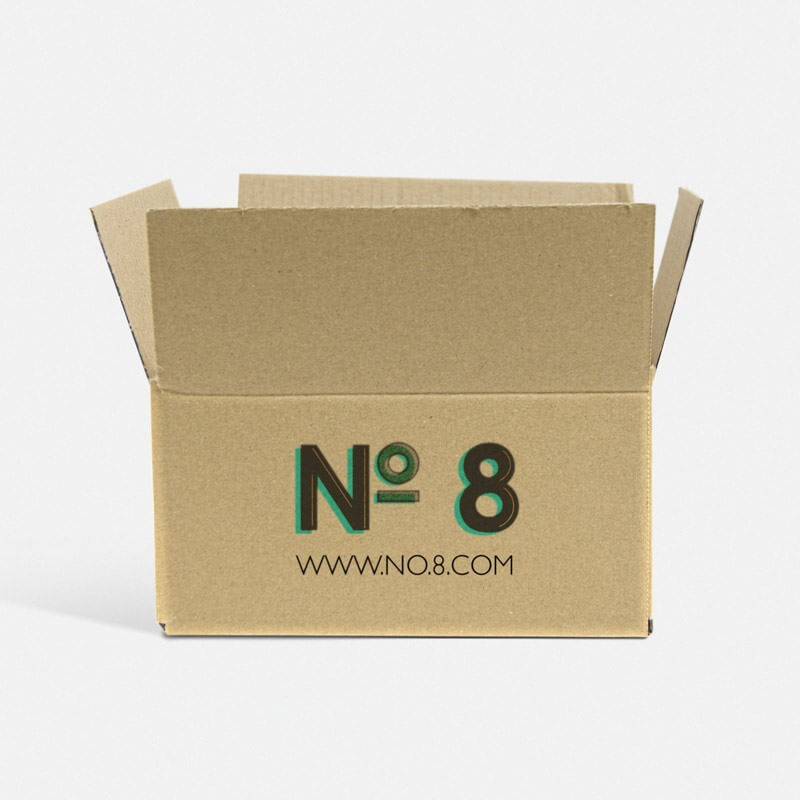 "Printed 0201 Style Single Wall Cardboard Boxes - 8"" x 6"" x 4"""