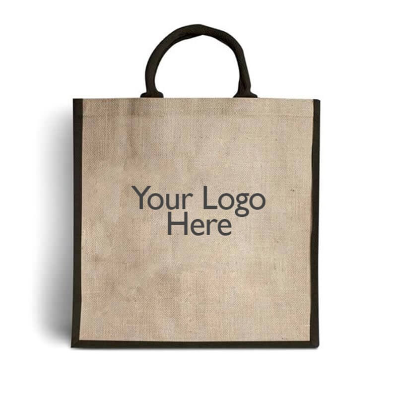 Branded Jute Bags with Black Trim