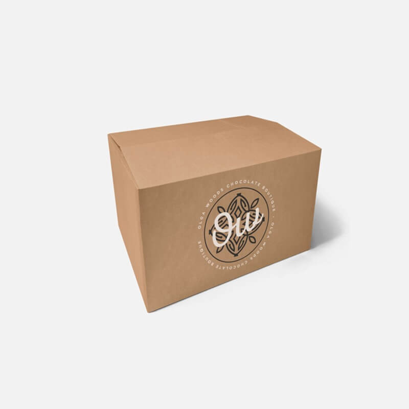 "Printed 0201 Style Single Wall Cardboard Boxes - 12"" x 9"" x 9"""