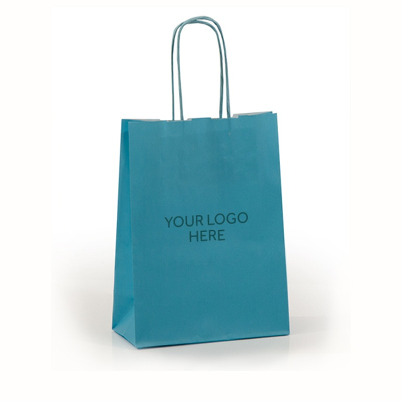 Light Blue Printed Paper Carrier Bags with Twisted Handles