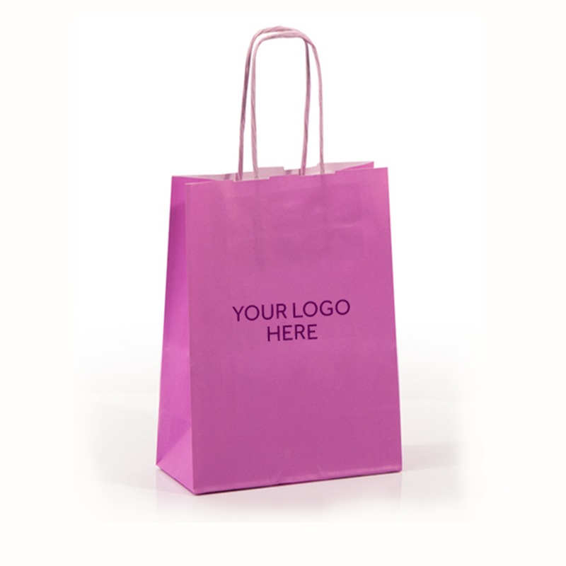 Pink Printed Paper Carrier Bags with Twisted Handles
