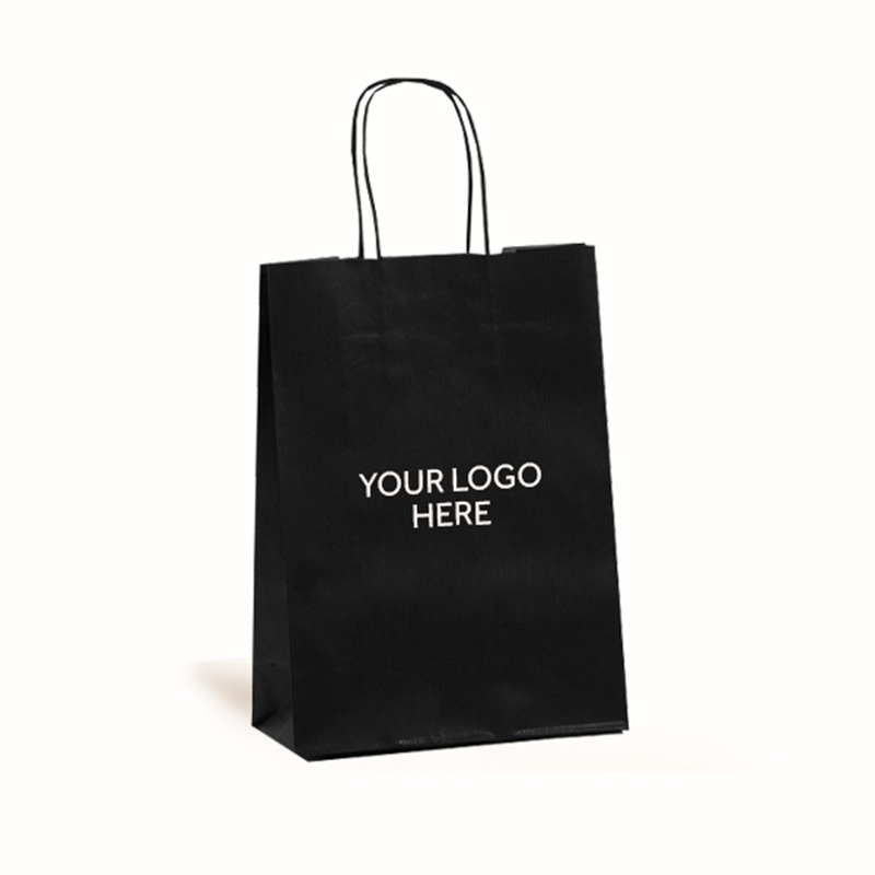 Black Printed Paper Carrier Bags with Twisted Handles