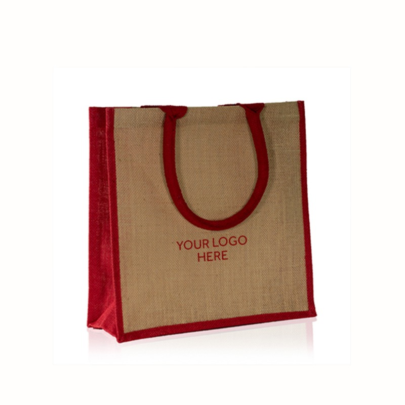 Natural Printed Jute Bags with Red Trim