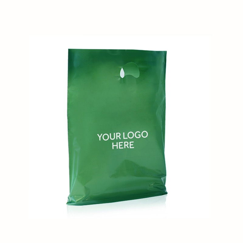 Dark Green Printed Plastic Carrier Bags